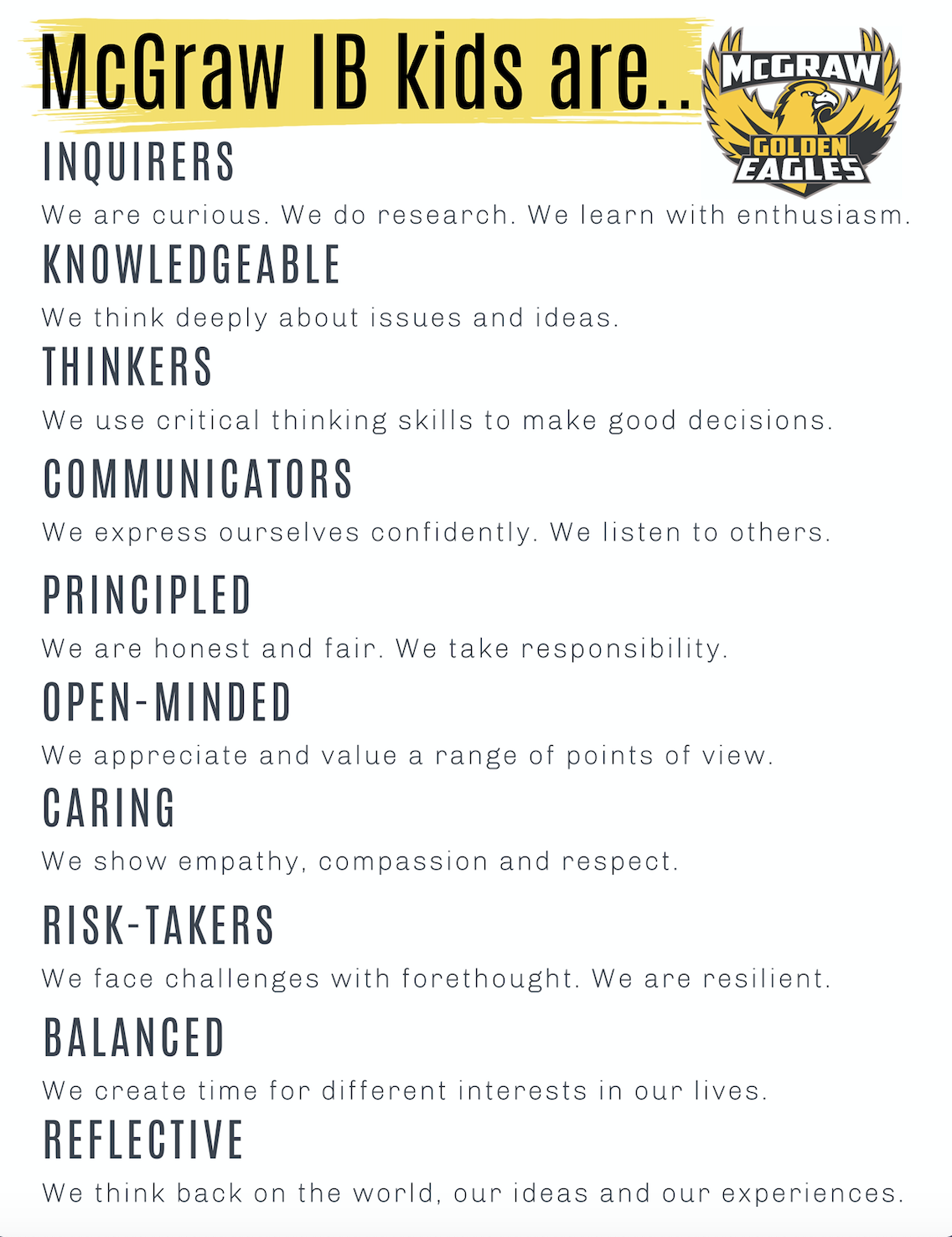 IB Learner Profile for Students